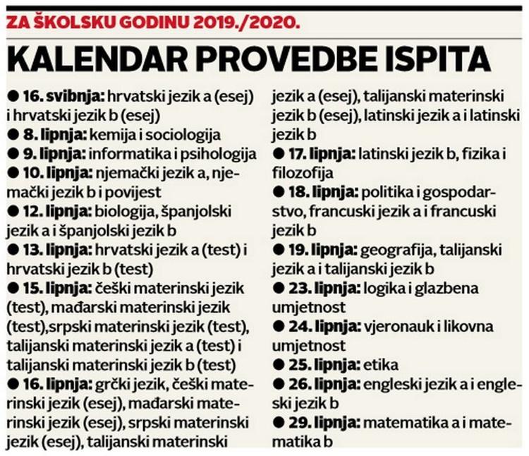 kalendar državne mature